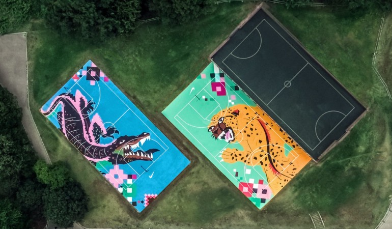 Nike and Joburg creatives transform iconic Zoo Lake basketball courts into work of art