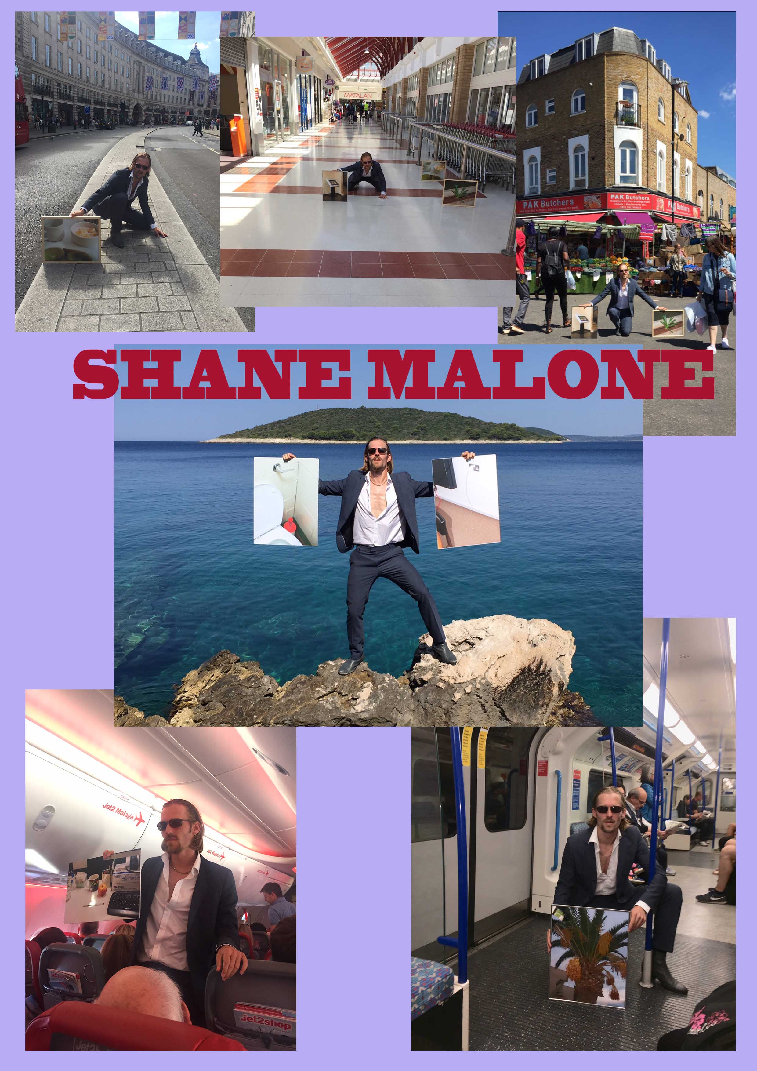 various pictures of the satirical character shane malone travelling around europe