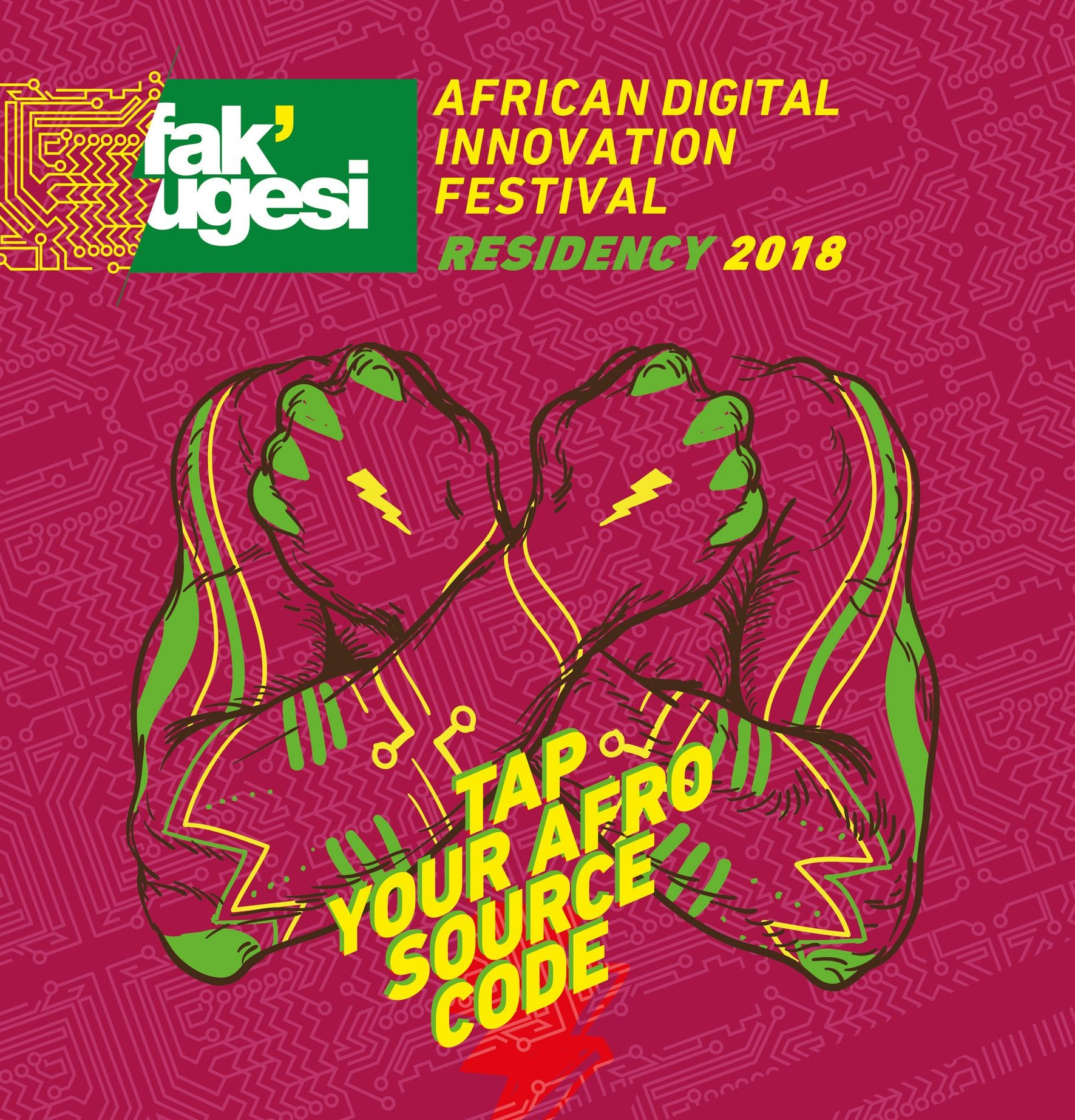 African Digital Innovation Festival Poster with two arms crossed holding fists