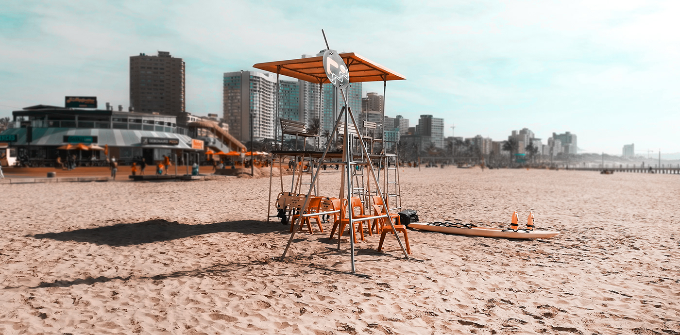 the lifeguard station on the Durban beachfront