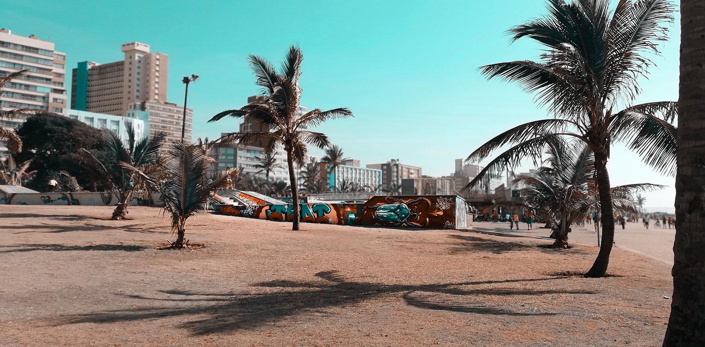 The Durban beachfront skatepark in front of the skyline