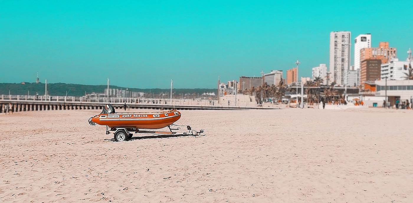 a lifesaver boat on the Durban beach