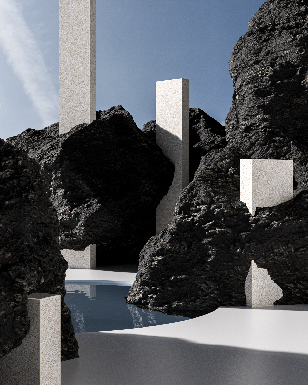 a rendered image with volcanic rock going around white pillars done by alexis christodoulou