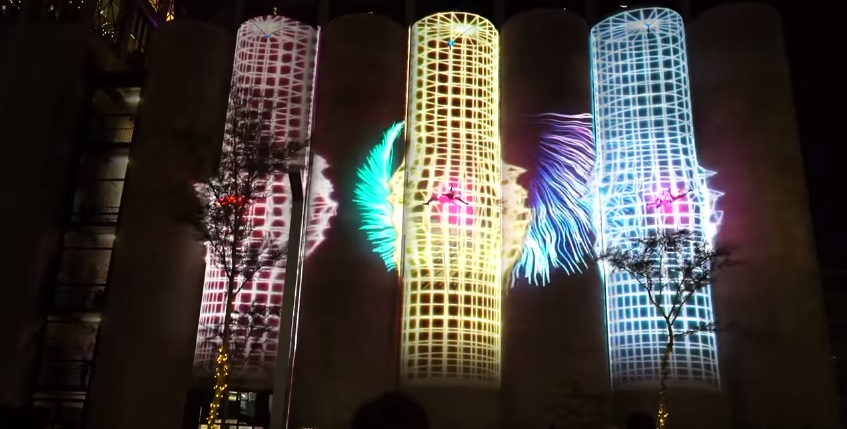 3D Projection on the Silos at Zeitz Mocaa with aerial performers