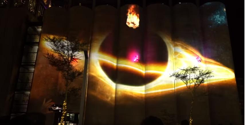 Projection of Jupiter on the silos at Zeitz Mocaa
