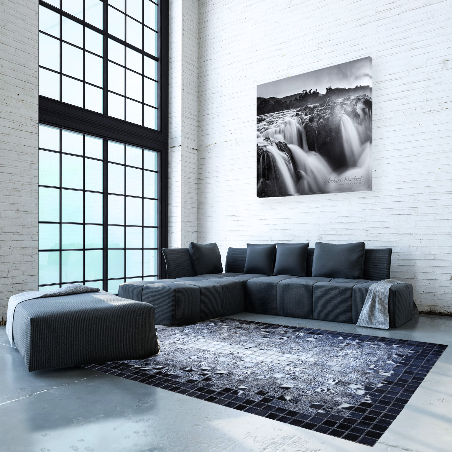 Spacious double volume living room interior with minimalist sofas and rug in the corner in front of large floor to ceiling windows. 3d Rendering.