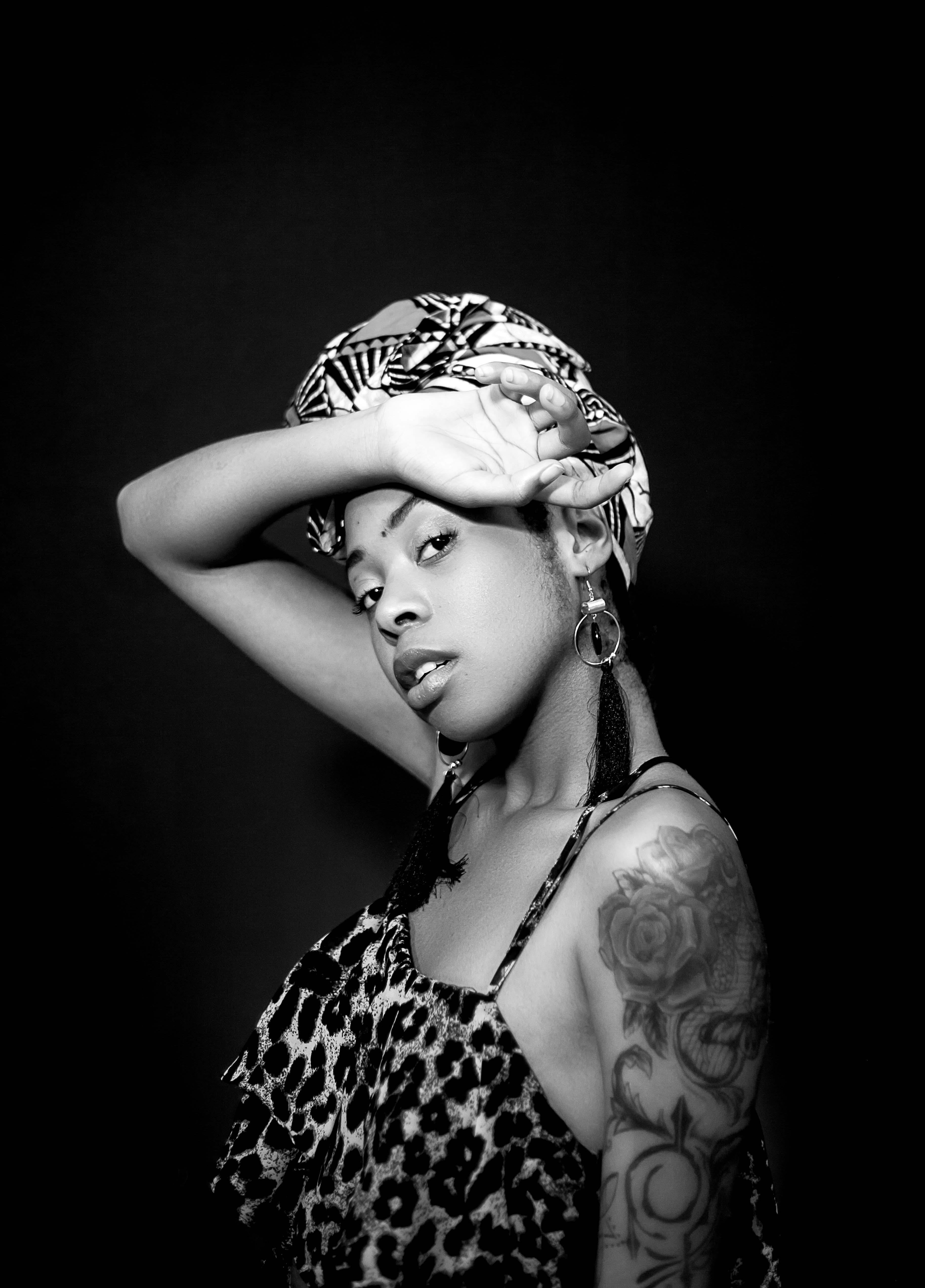 black and white portrait of rhema socika