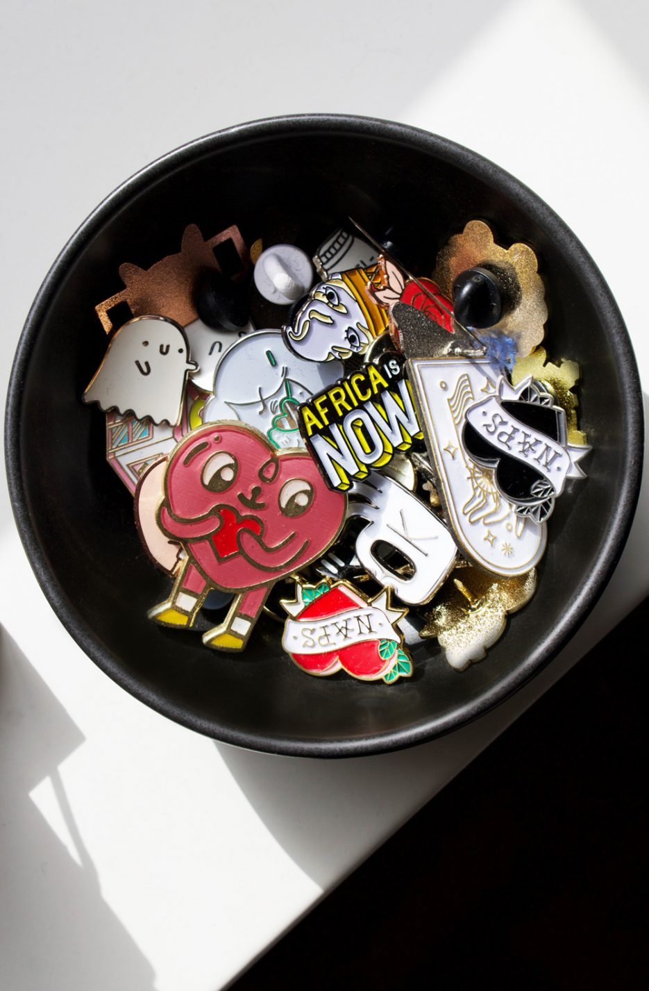 Nicole Dalton's collection of pins. Image by Amber Rose Cowie.
