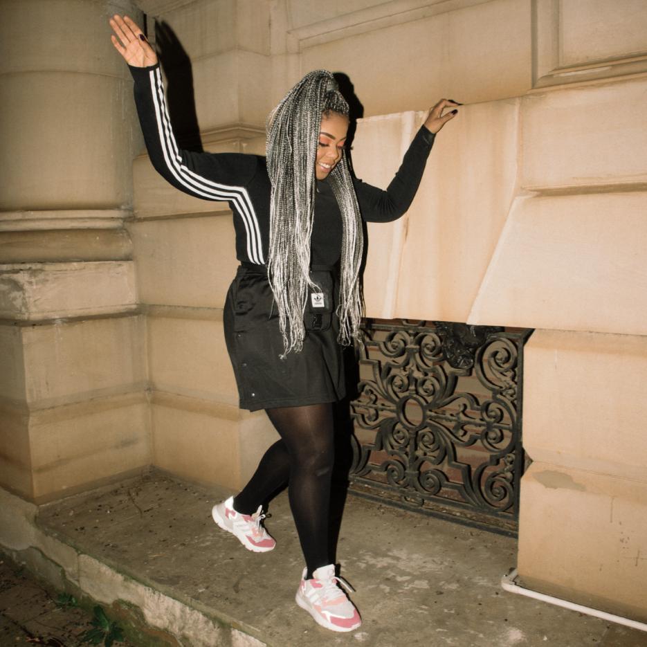 Shekinah in the Adidas Nite Jogger