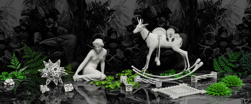 The Art of Play - Girl with springbok, 3D print by Dr Michaella Janse van Vuuren