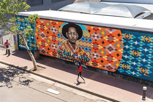 Street Artist DBongz painted a mural of Samthing Soweto in celebration of Isphithiphithi