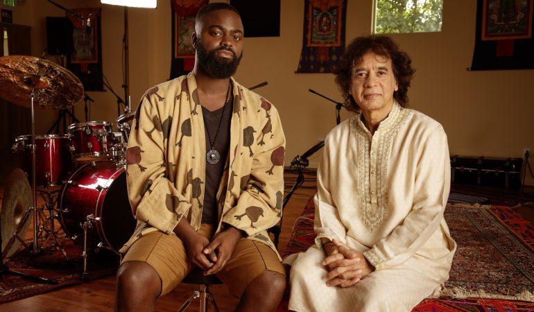 Protégé Marcus Gilmore (left) with his mentor Zakir Hussain.