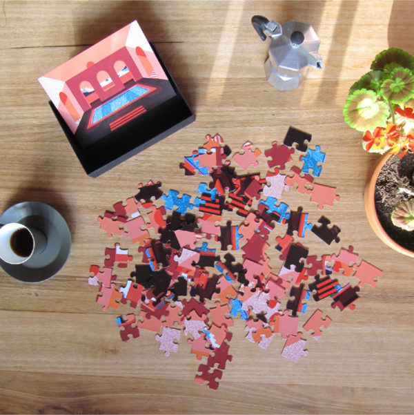 Courtyard Sunset Puzzle Unmade